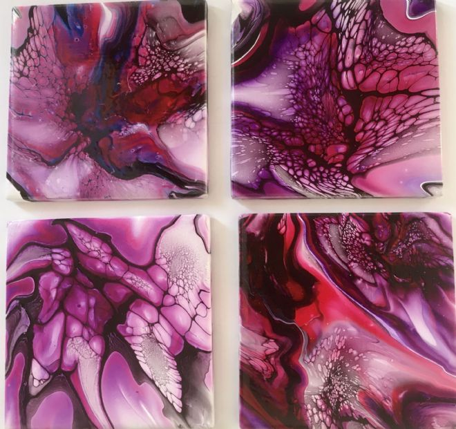 Set of 4 Hand Painted Ceramic Coasters Pink & Black made in UK